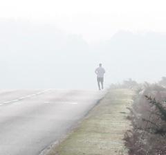Jogger in mist
