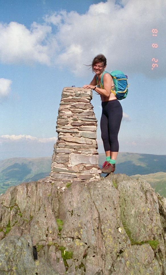 Jessica on Place Fell summit. 18.8.92