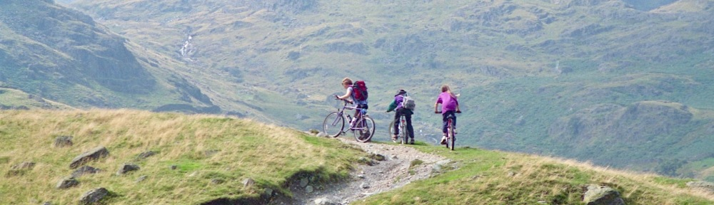 Sam, Louisa, and James A mountain biking from Haweswater 20.8.92 2