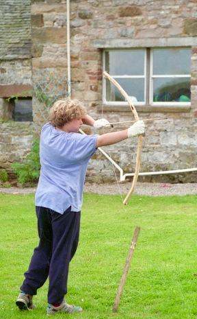 Sam firing bow and arrow 21.8.92 1
