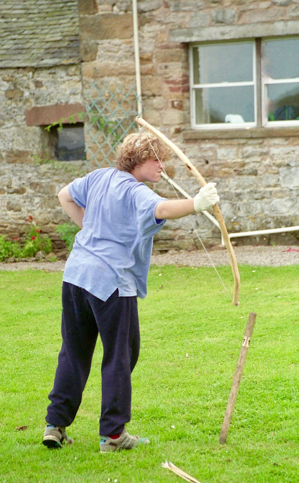 Sam firing bow and arrow 21.8.92 2