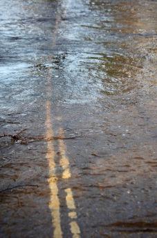 Road markings under water