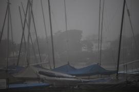 Masts in mist