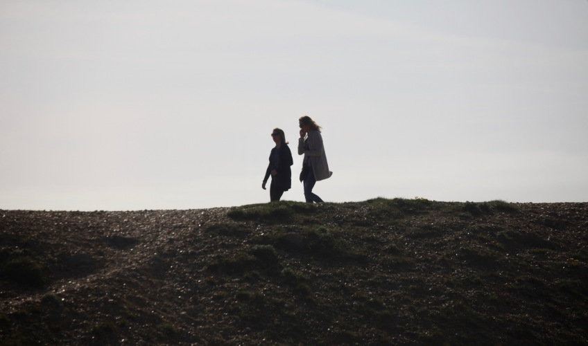 Two young women on Hurst spit