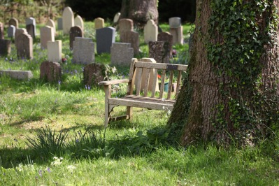 Bench in graveyard