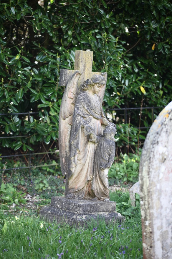 Angel gravestone sculpture