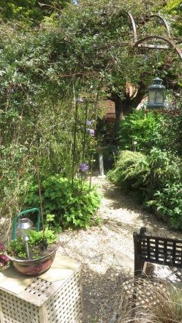 Garden view through gazebo