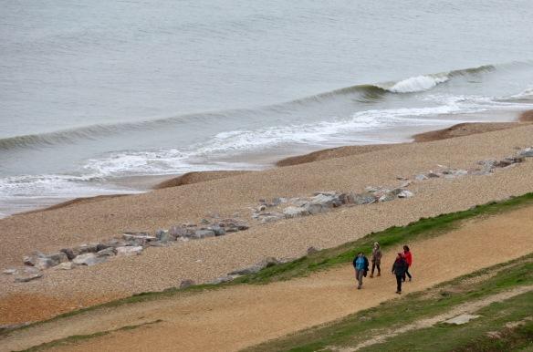 Walkers on beach