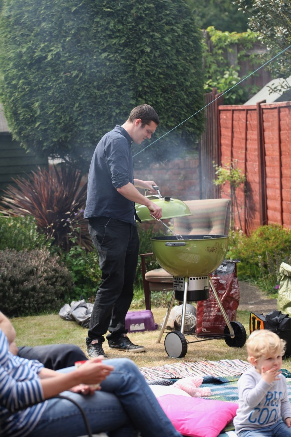 Andy tending barbecue