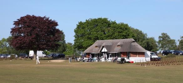 Thatched cricket pavilion