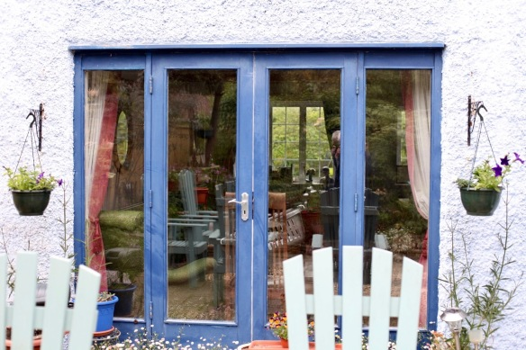 Hanging baskets and French windows