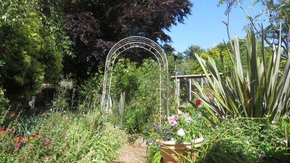 Garden view from concrete patio towards Rose Garden