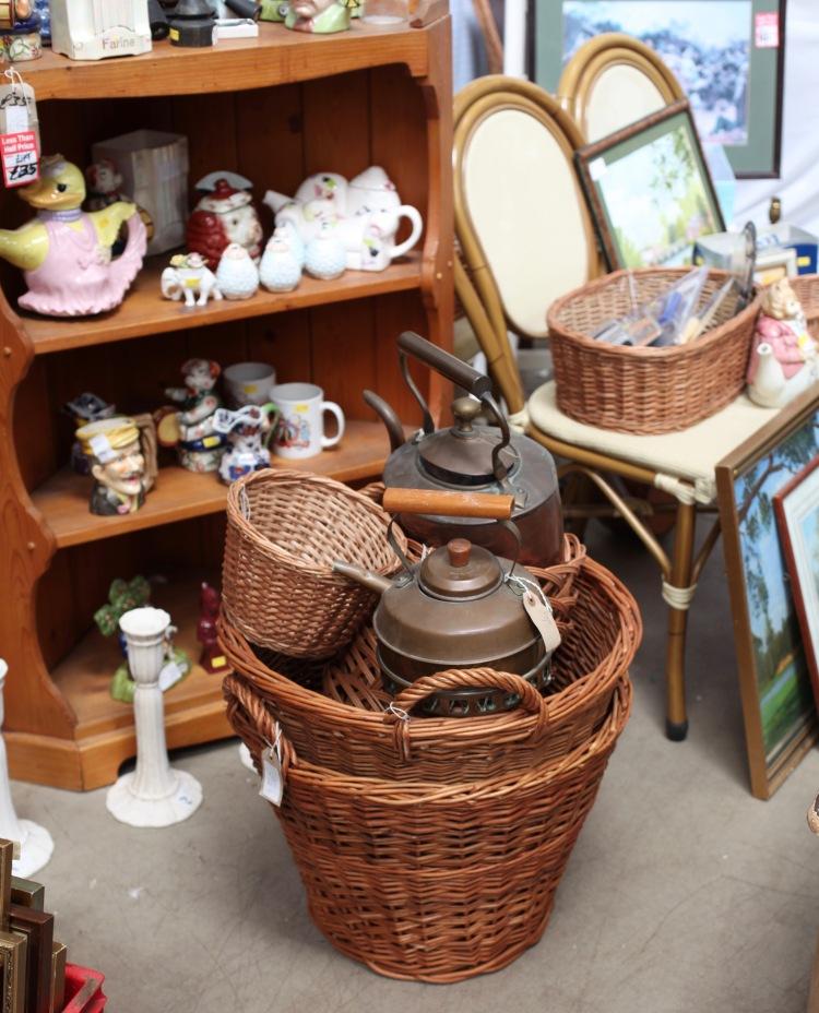 Baskets, kettles, etc