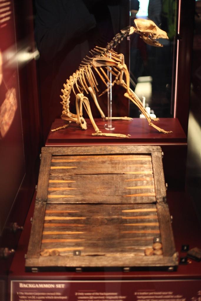 Dog skeleton and backgammon set
