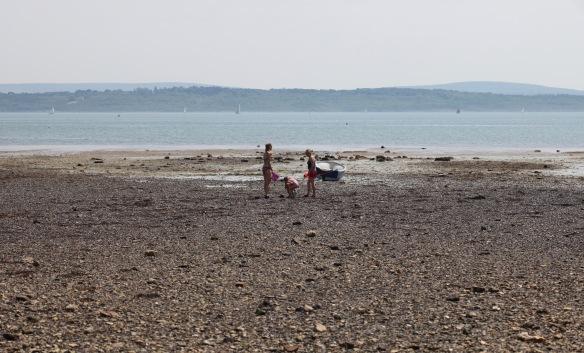 Women and children on beach