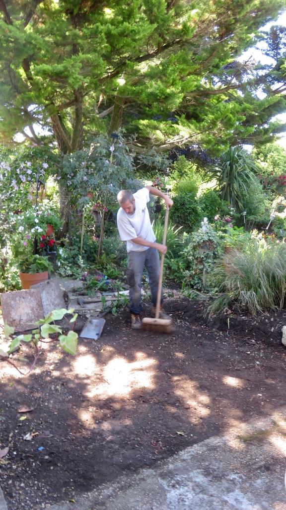 Aaron laying greenhouse base 8