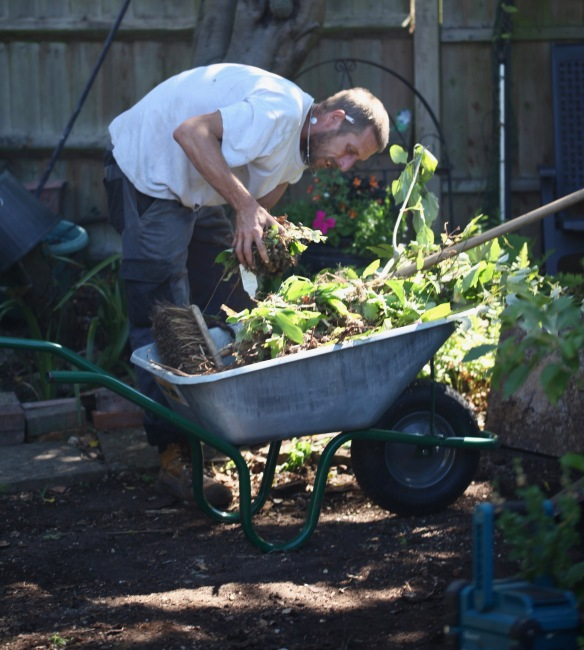 Aaron laying greenhouse base 2