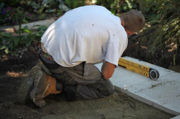 Aaron laying greenhouse base 7