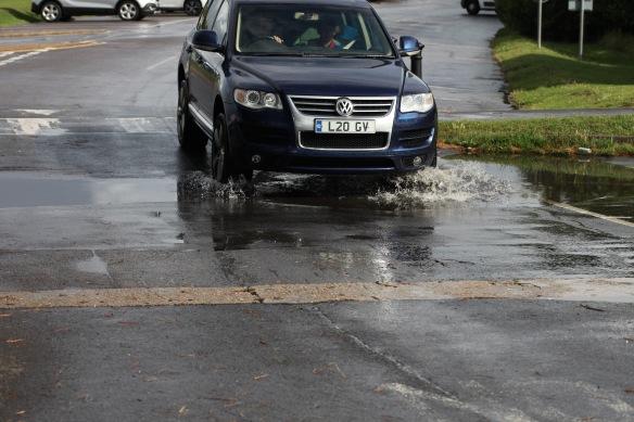 Car going through pool