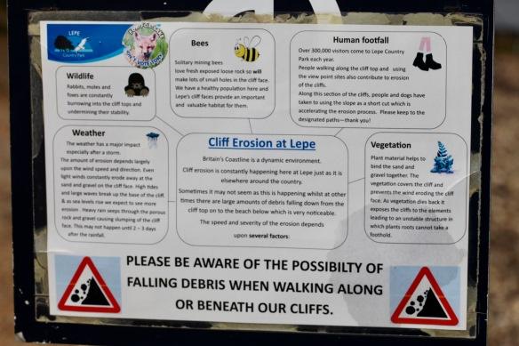 Cliff Erosion at Lepe notice