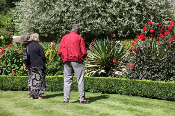 Visitors admiring herbaceous border 1
