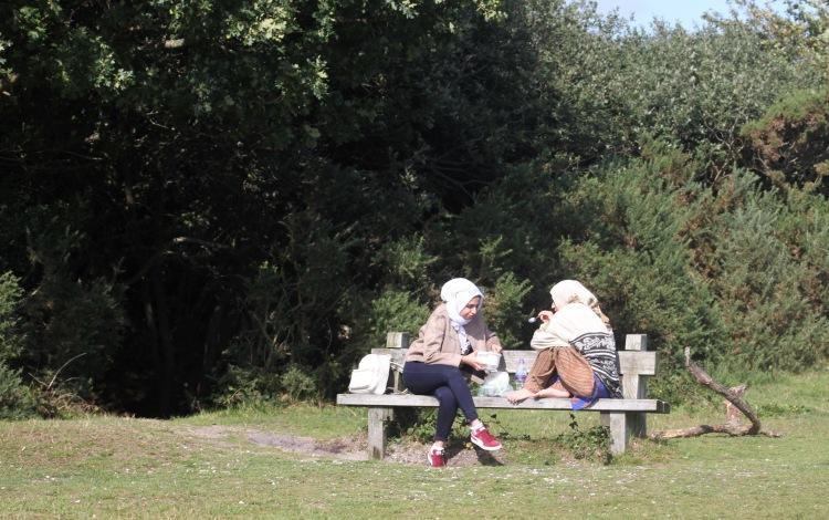 Women on bench