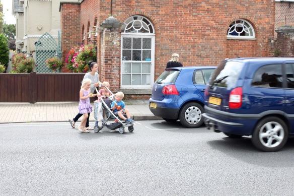 Family crossing road 1