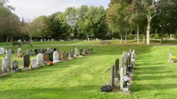 Catherington Cemetery - Dad's gravestone bottom right