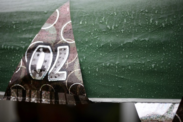 Raindrops on marquee with upside down bunting