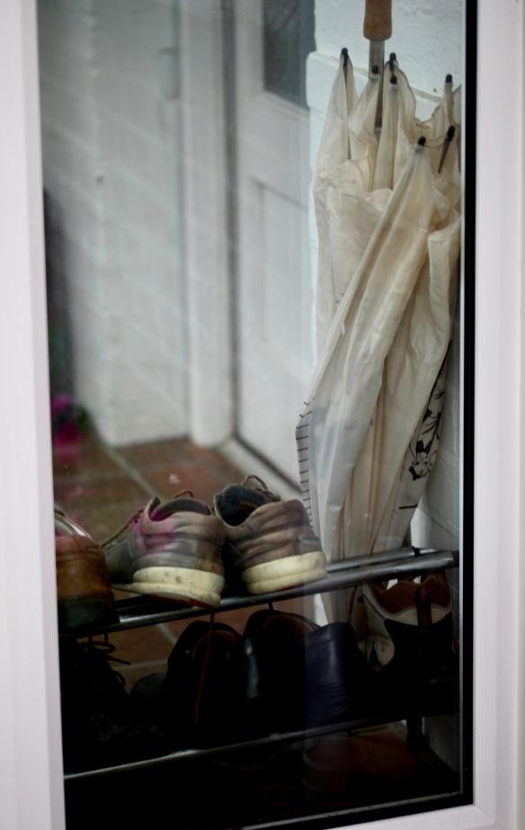 Umbrella and shoes