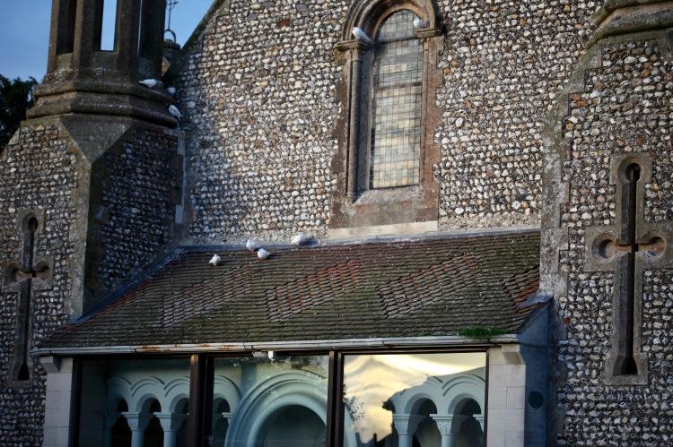 Doves on church