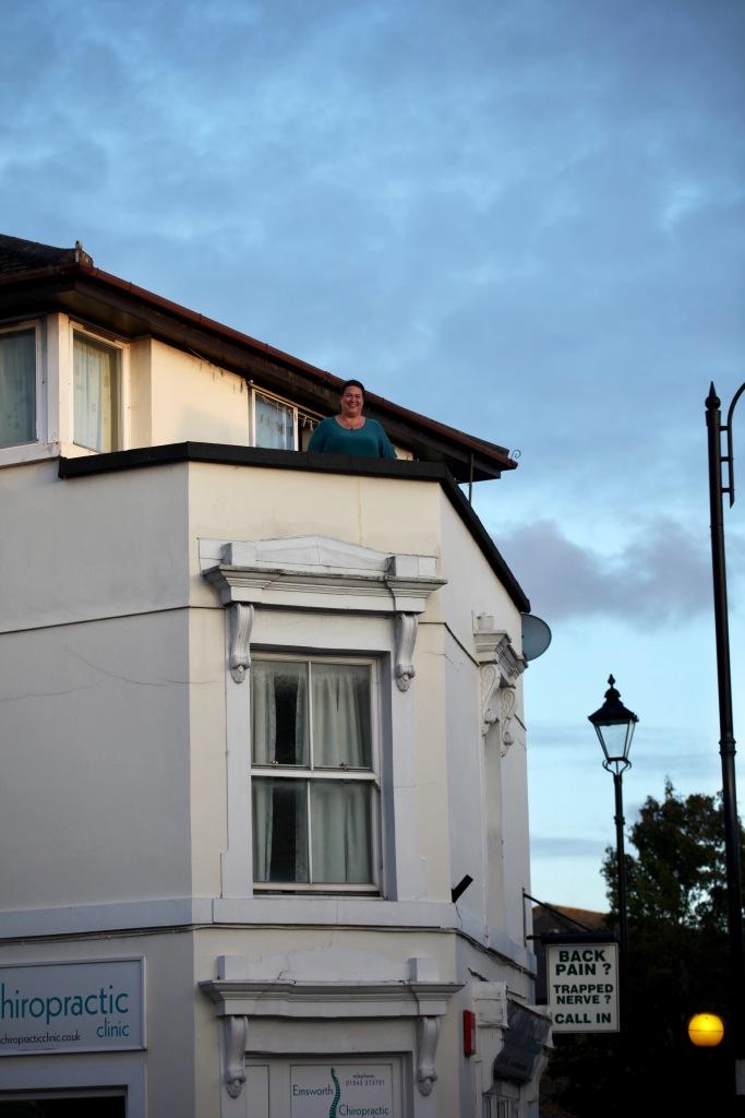 Becky on balcony