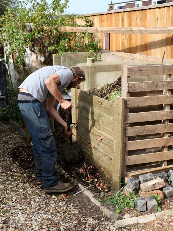 Aaron building compost bins 2