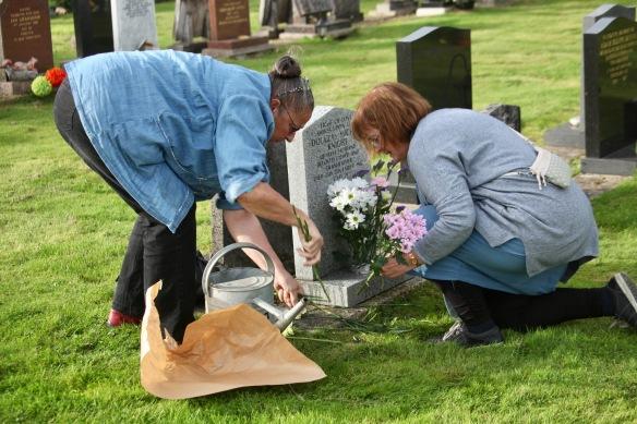 Elizabeth and Jackie arranging flowers 4