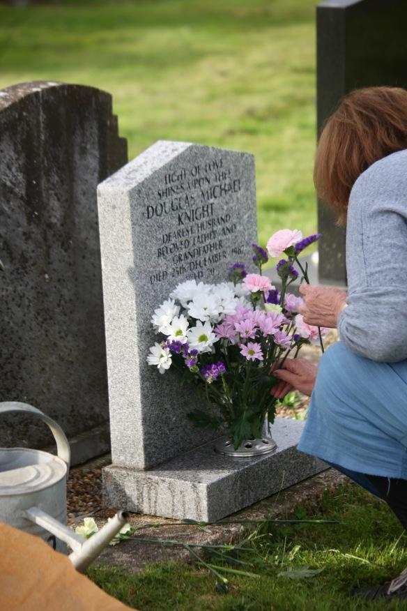 Elizabeth arranging flowers
