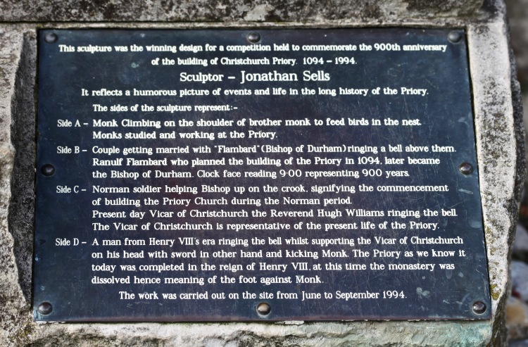 Christchurch Priory commemoration scupture plaque
