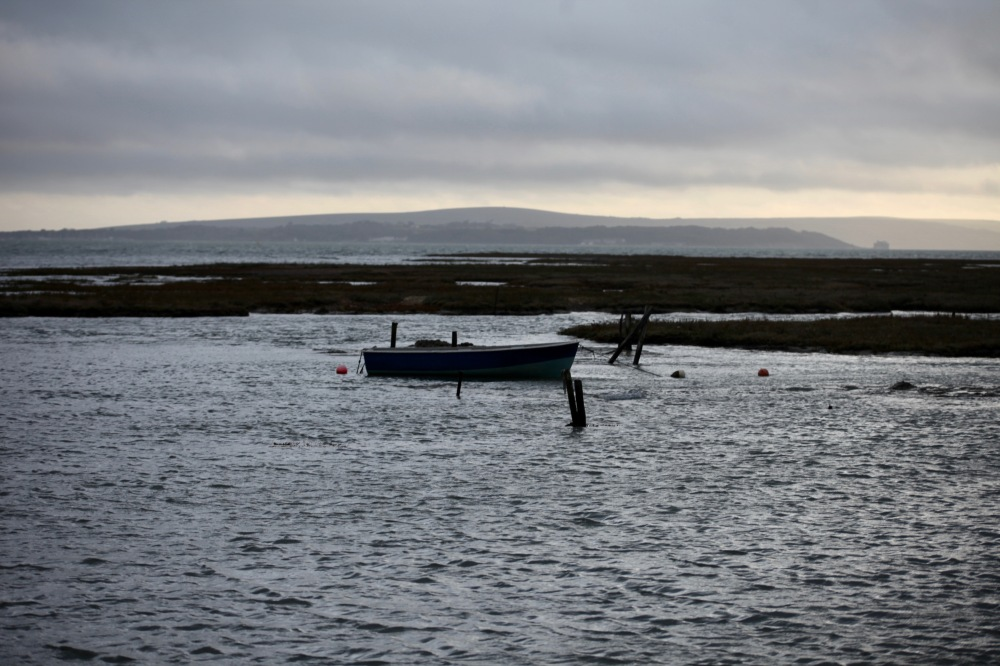 High tide with boat