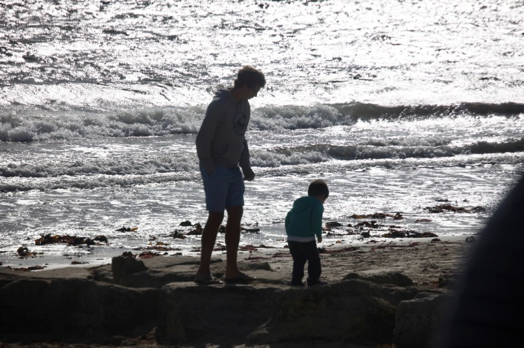 Man and boy on beach 1