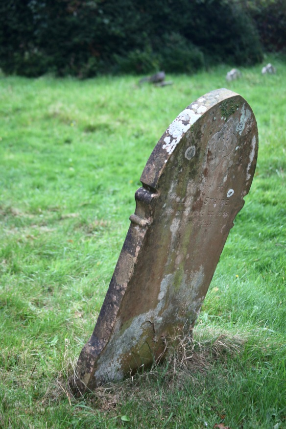 Gravestone leaning