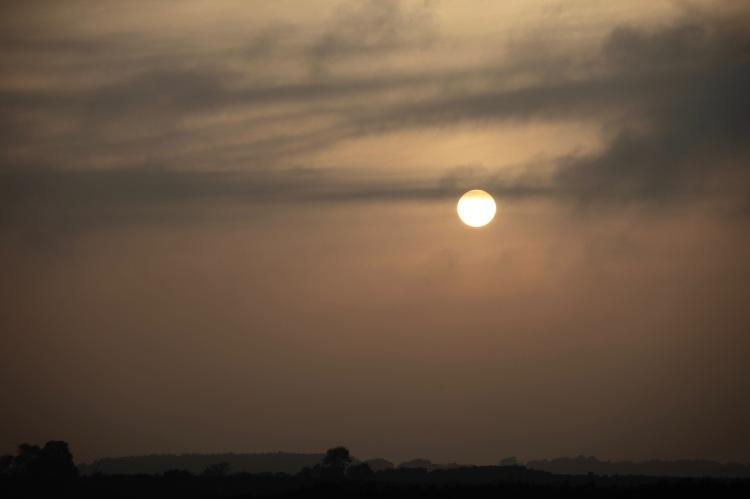 Sun disc over horizon