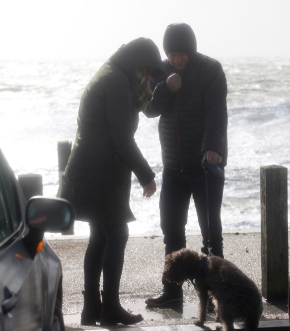 Couple with damp dog