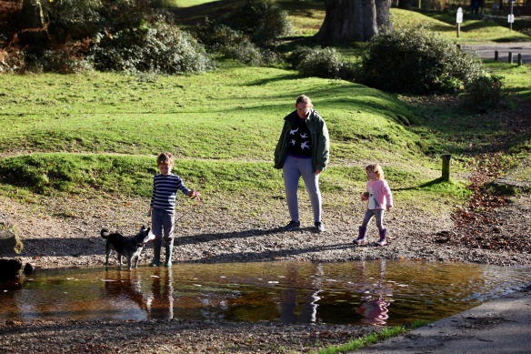 Woman, children and dog reflected