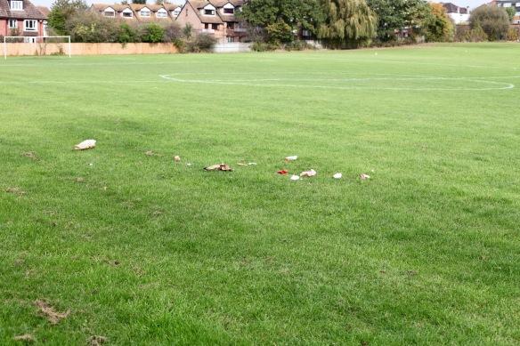 Litter on football pitch
