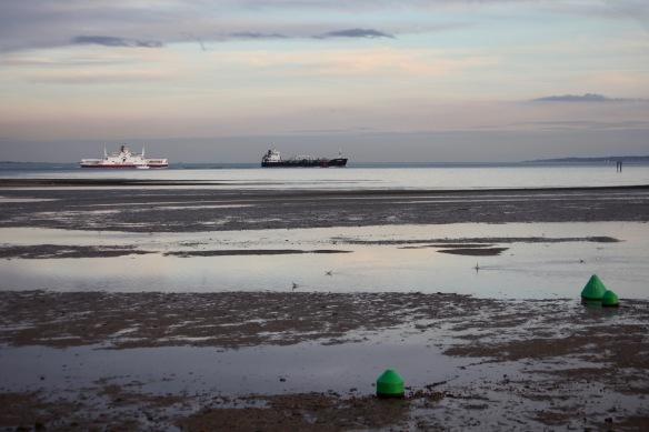 Calshot beach and ships 1