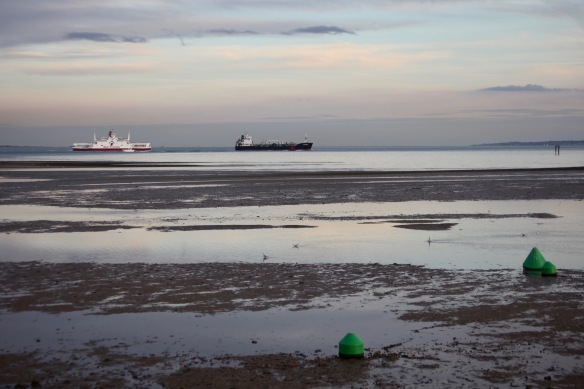 Calshot beach and ships 1