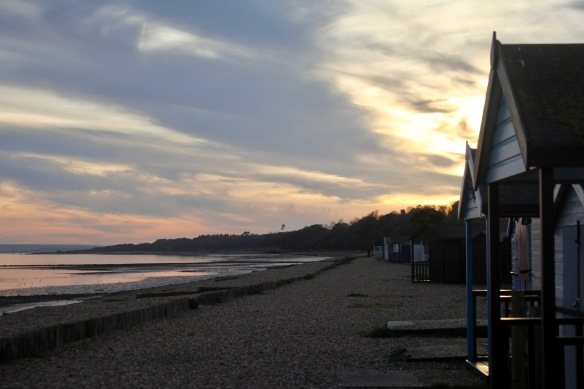 Sunset and beach huts