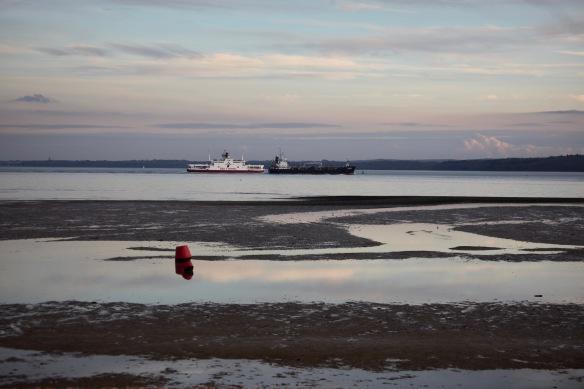 Calshot beach and ships 2