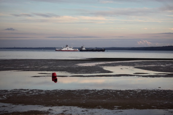 Calshot beach and ships 2