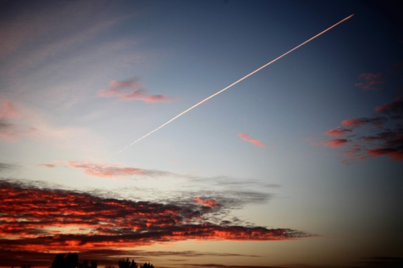 Sunset and jettrail