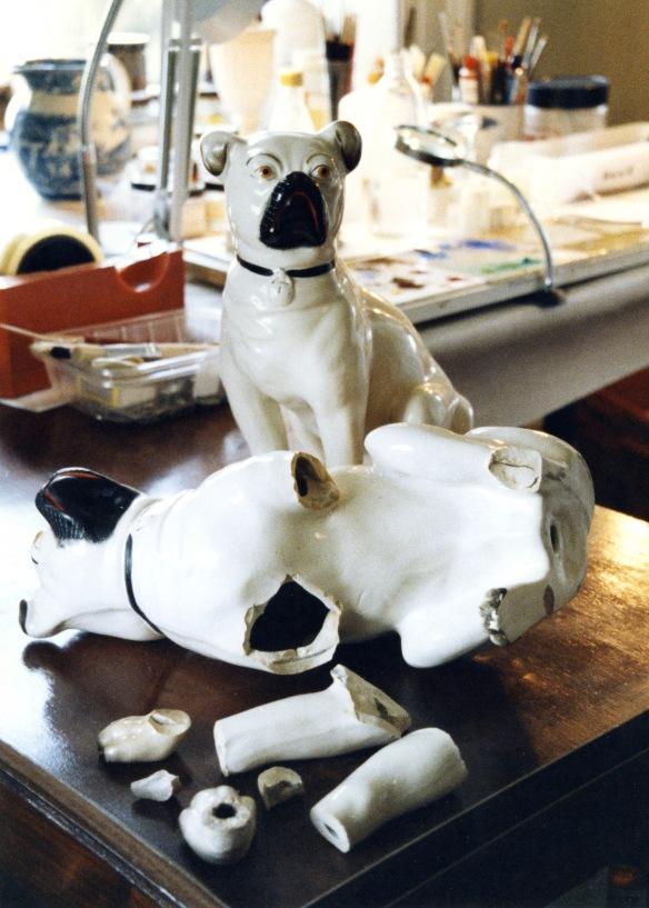 Broken ceramic dog